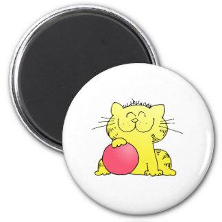Cute Kitten Bowler 6 Cm Round Magnet