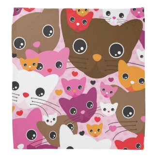 cute kitten cat background pattern bandana