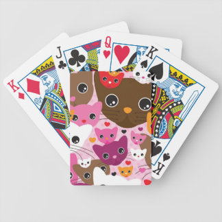 cute kitten cat background pattern bicycle playing cards