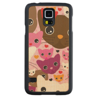 cute kitten cat background pattern carved maple galaxy s5 case