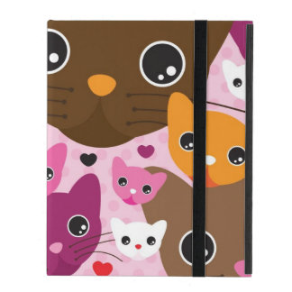 cute kitten cat background pattern iPad cover