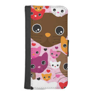 cute kitten cat background pattern iPhone SE/5/5s wallet case