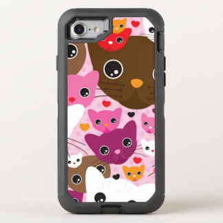 cute kitten cat background pattern OtterBox defender iPhone 8/7 case