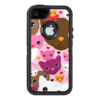 cute kitten cat background pattern OtterBox defender iPhone case
