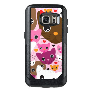 cute kitten cat background pattern OtterBox samsung galaxy s7 case