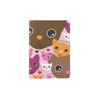 cute kitten cat background pattern passport holder
