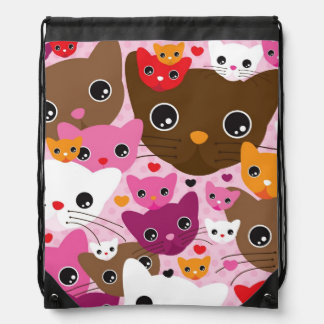 cute kitten cat background pattern drawstring backpack