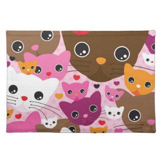 cute kitten cat background pattern placemat