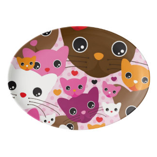 cute kitten cat background pattern porcelain serving platter