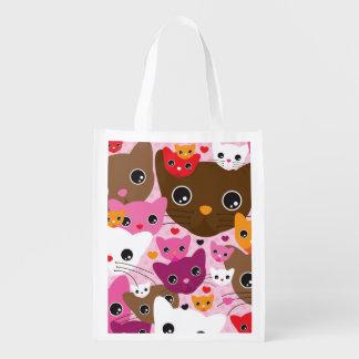 cute kitten cat background pattern reusable grocery bag