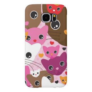 cute kitten cat background pattern samsung galaxy s6 cases
