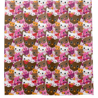 cute kitten cat background pattern shower curtain