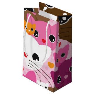 cute kitten cat background pattern small gift bag
