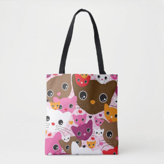cute kitten cat background pattern tote bag