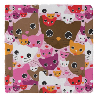 cute kitten cat background pattern trivet