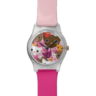 cute kitten cat background pattern watch