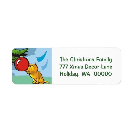Cute Kitten Cat Custom Holiday Greeting Card Label Return Address Label