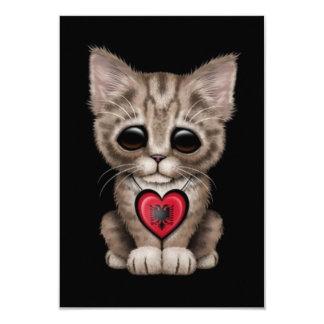 Cute Kitten Cat with Albanian Flag Heart, black Invite