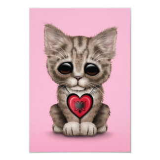 Cute Kitten Cat with Albanian Flag Heart, pink Invitation