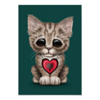 Cute Kitten Cat with Albanian Flag Heart, teal blu Announcements