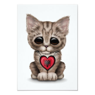 Cute Kitten Cat with Albanian Flag Heart, white 3.5x5 Paper Invitation Card