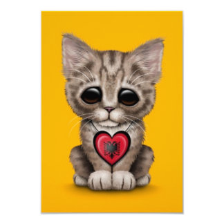 "Cute Kitten Cat with Albanian Flag Heart, yellow 3.5"" X 5"" Invitation Card"