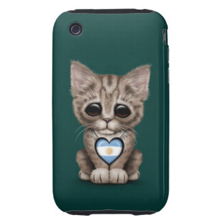 Cute Kitten Cat with Argentinian Flag Heart teal Tough iPhone 3 Case
