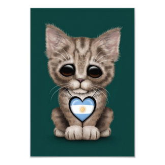 Cute Kitten Cat with Argentinian Flag Heart, teal Personalized Invitations