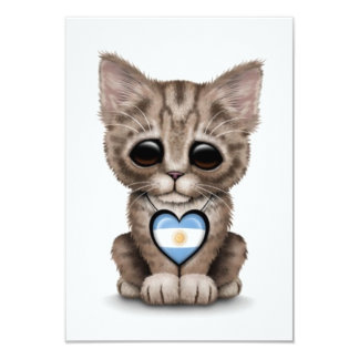 """Cute Kitten Cat with Argentinian Flag Heart, white 3.5"""" X 5"""" Invitation Card"""