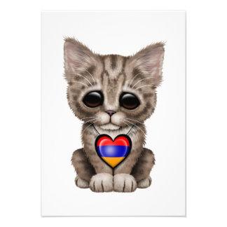 Cute Kitten Cat with Armenian Flag Heart Custom Invites