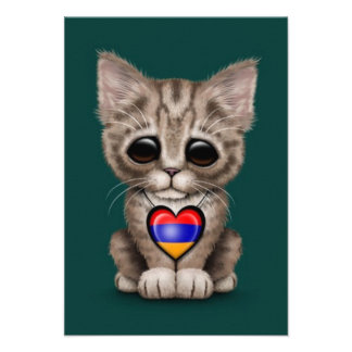 Cute Kitten Cat with Armenian Flag Heart, teal Personalized Announcement