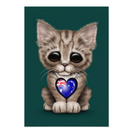 Cute Kitten Cat with Australian Flag Heart, teal Personalized Invitation