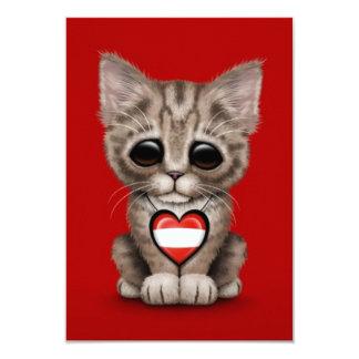 Cute Kitten Cat with Austrian Flag Heart, red Custom Announcements