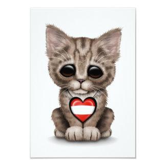 "Cute Kitten Cat with Austrian Flag Heart, white 3.5"" X 5"" Invitation Card"