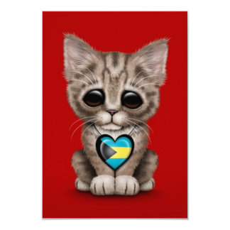 Cute Kitten Cat with Bahamas Flag Heart, red Personalized Invitation