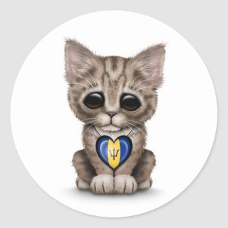 Cute Kitten Cat with Barbados Flag Heart, white Classic Round Sticker