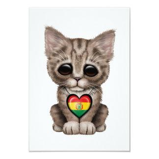 "Cute Kitten Cat with Bolivian Flag Heart 3.5"" X 5"" Invitation Card"