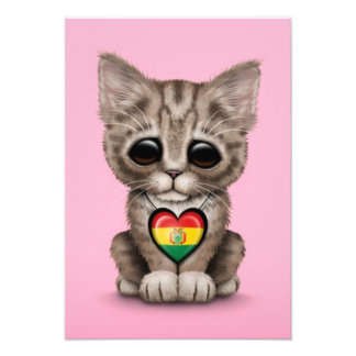 Cute Kitten Cat with Bolivian Flag Heart pink Personalized Invites