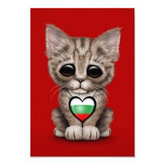 Cute Kitten Cat with Bulgarian Flag Heart, red Custom Invitations