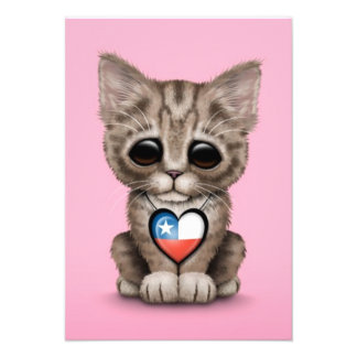 Cute Kitten Cat with Chilean Flag Heart pink Personalized Invitations