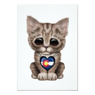 Cute Kitten Cat with Colorado Flag Heart 9 Cm X 13 Cm Invitation Card
