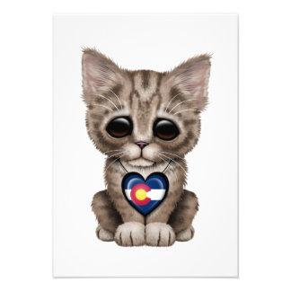 Cute Kitten Cat with Colorado Flag Heart Invite