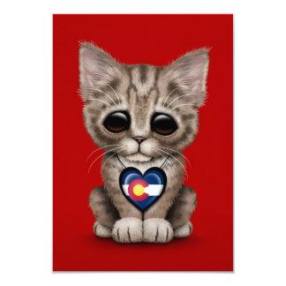 Cute Kitten Cat with Colorado Flag Heart, red Custom Invitations