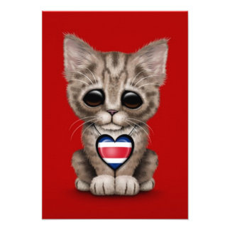 Cute Kitten Cat with Costa Rica Flag Heart, red Custom Invitations