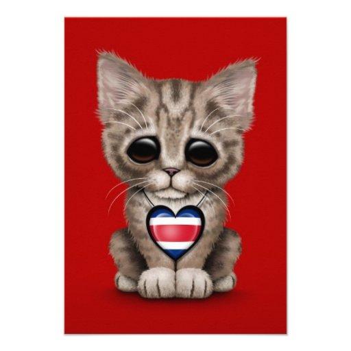 Cute Kitten Cat with Costa Rica Flag Heart, red Custom Invitations