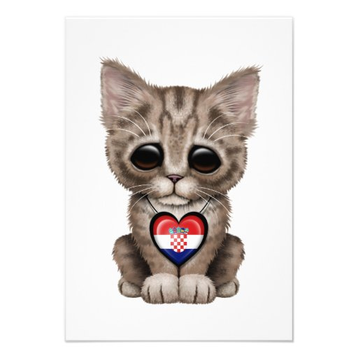 Cute Kitten Cat with Croatian Flag Heart Personalized Invitations