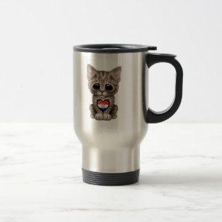 Cute Kitten Cat with Croatian Flag Heart Coffee Mugs