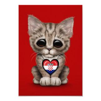 Cute Kitten Cat with Croatian Flag Heart, red Custom Invitation