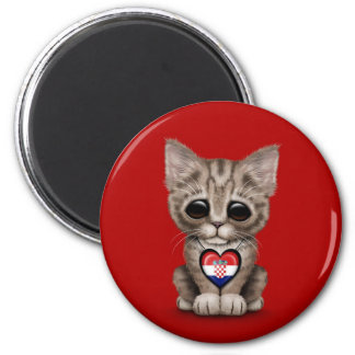 Cute Kitten Cat with Croatian Flag Heart, red Magnet