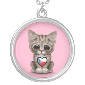 Cute Kitten Cat with Czech Republic Heart, pink Silver Plated Necklace